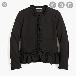 J Crew Black Going out blazer with ruffles 12